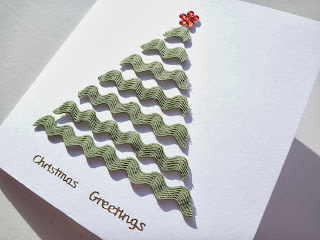 Hand made ricrac Christmas tree card