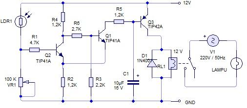 Rangkaian Kontrol Saklar Lampu Otomatis Sensor Cahaya Ldr Edukasi Elektronika Electronics Engineering Solution And Education
