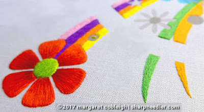 SFSNAD Flower Power Challenge: Colourful thread painted daisy
