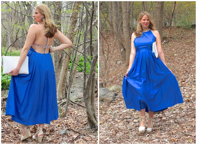SheIn 2016 Summer Blue Pearl-trimmed Neck Backless Pleated Dress