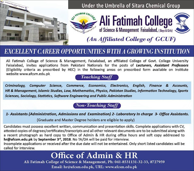 Jobs In Ali Fatima College Of Science and Management Faisalabad 19 August 2018