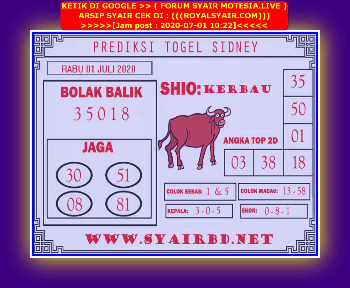 Kode syair Sydney Rabu 1 Juli 2020 108