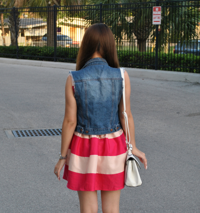 striped dress, jeans vest, sleeveless, burlington, fossil watch, Rose Red Scoop Neck Sleeveless Striped Dress, SheIn, Skater Dress, denim vest
