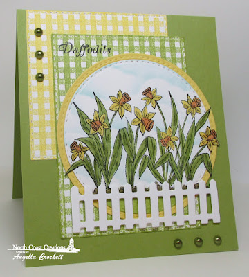 NCC Daffodils, ODBD Gingham Background, ODBD Custom Fence Die, ODBD Custom Double Stitched Circles Dies, ODBD Custom Double Stitched Rectangles Dies, ODBD Custom Double Stitched Squares Dies, ODBD Custom Clouds and Raindrops Dies, Card Designer Angie Crockett