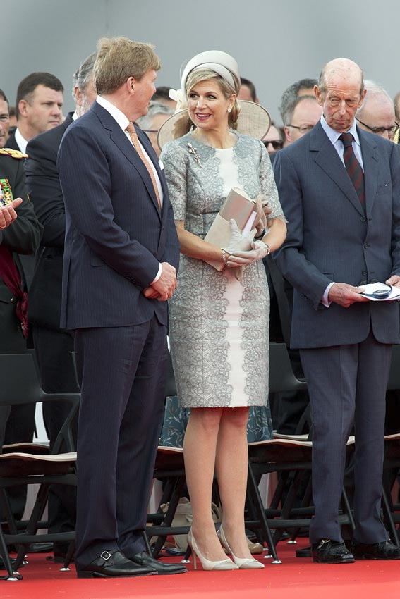 Dutch King Willem-Alexander and Queen Maxima of the Netherlands, and Prince Edward, Duke of Kent attend the Belgian federal government ceremony to commemorate the bicentenary of the Battle of Waterloo on June 18, 2015 in Waterloo, Belgium.