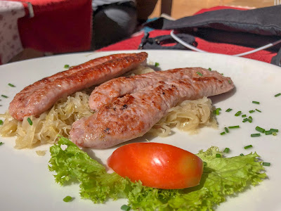 Example of a lunch at a rifugio. Sausage and sauerkraut at Rifugio Fanes.