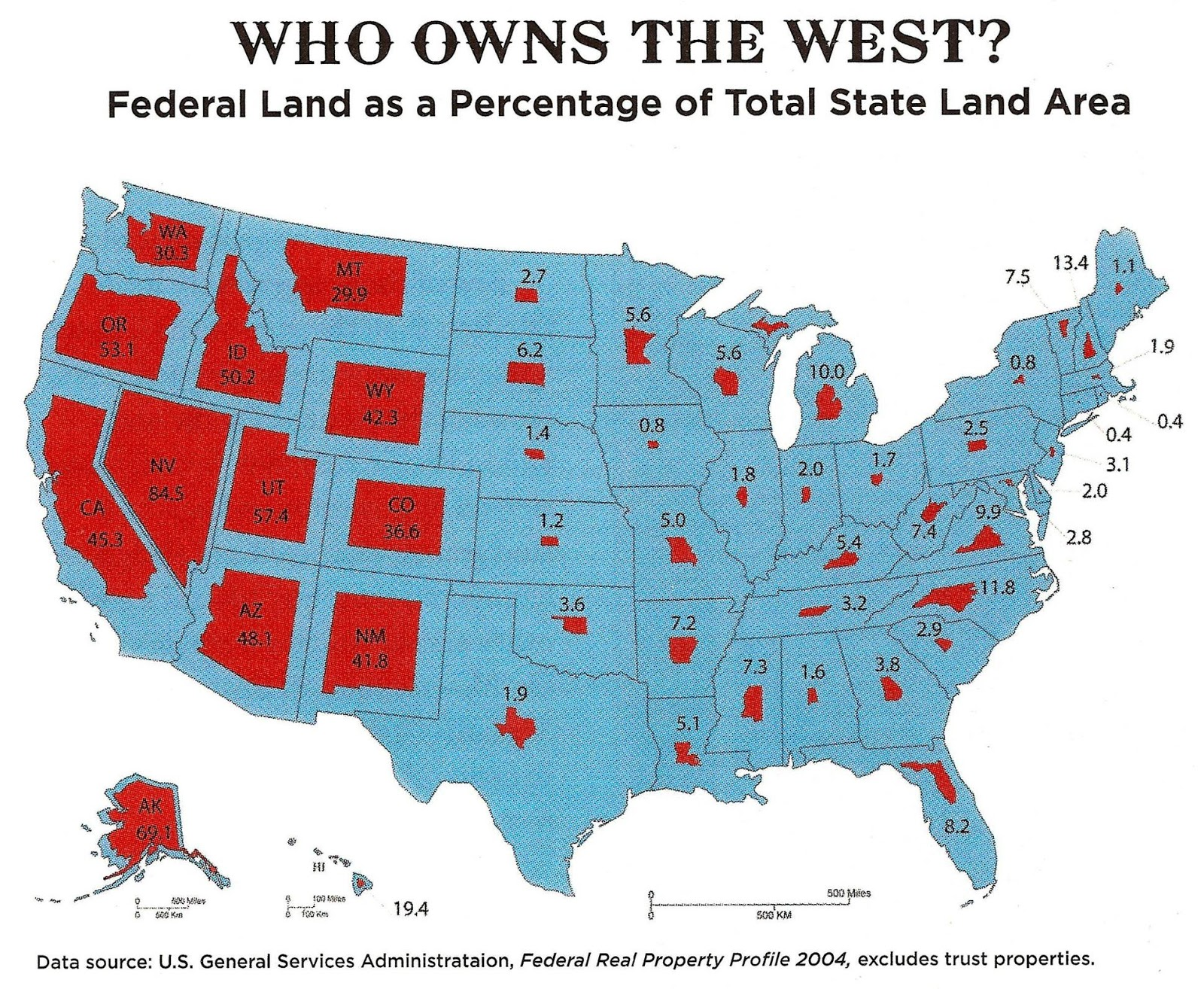 Federal land as a percentage of total State land area
