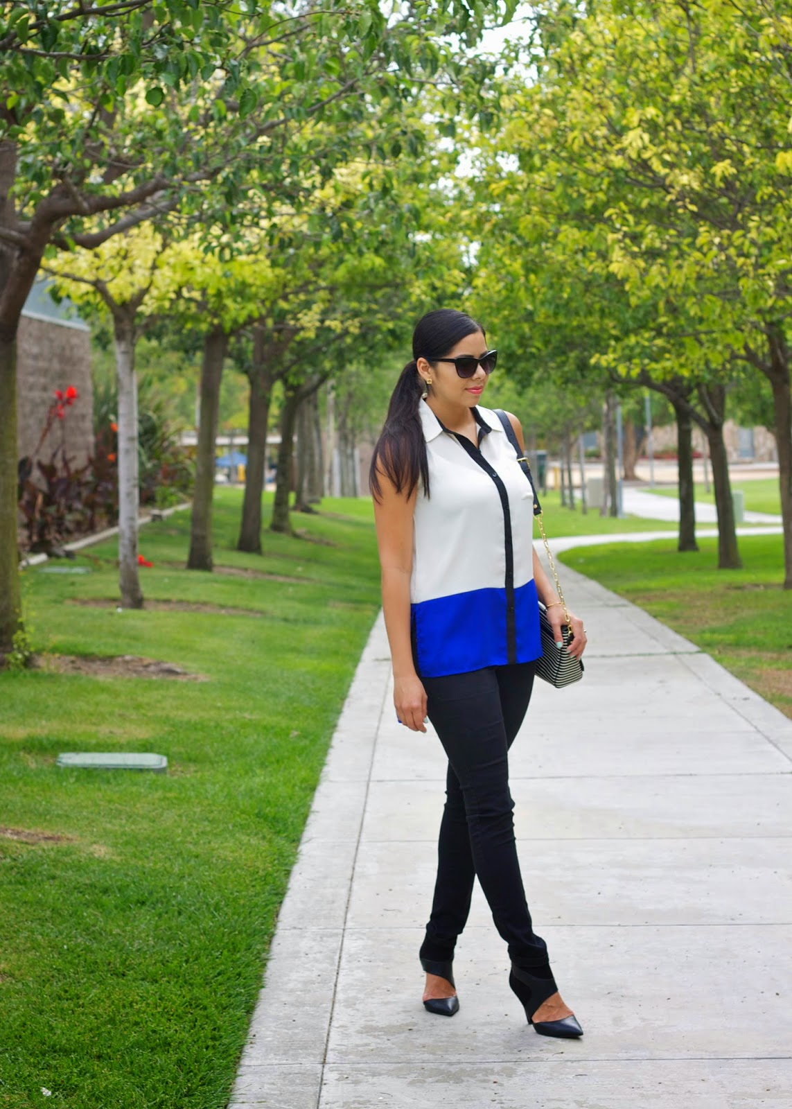 colorblocking with black and blue, san diego fashion blogger, san diego style blogger, well known san diego fashion blogger