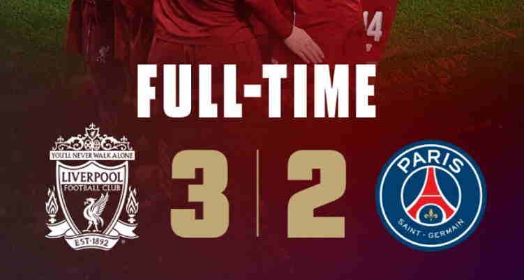 Hasil Liverpool vs Paris Saint Germain Skor Akhir 3-2