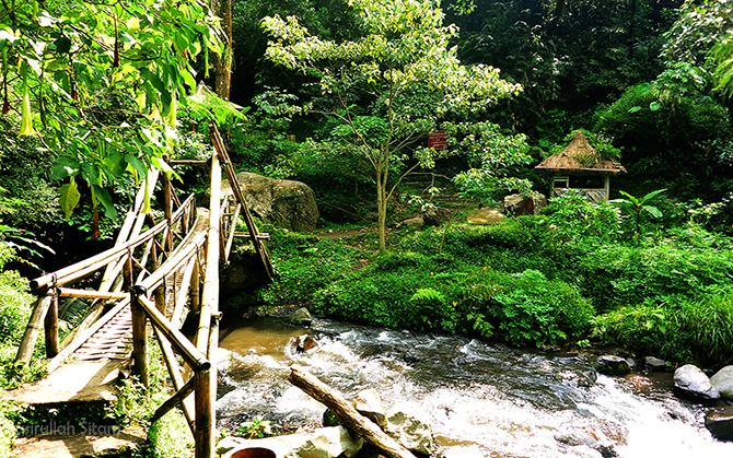 Menyeberangi Kali Amprong meniti jembatan bambu