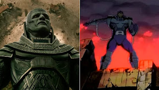Apocalypse on the 2016 film version (left) and on the cartoon series (right).
