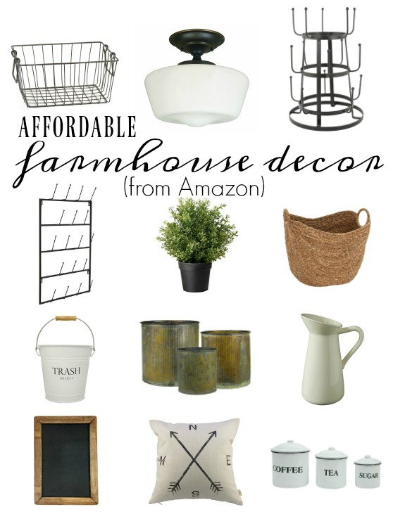Affordable farmhouse decor from amazon little house of for Home decorations amazon