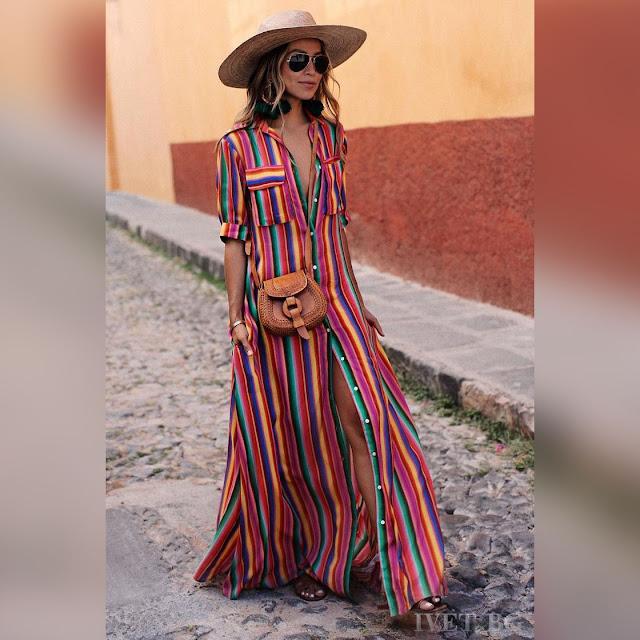 Ξεχωριστό μάξι χρωματιστό φόρεμα ARMENA