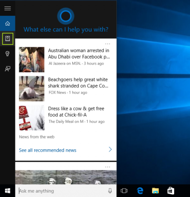 menu Cortana pada Windows 10