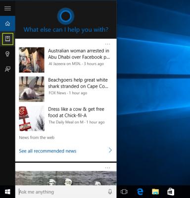 menu Cortana pada Windows 10