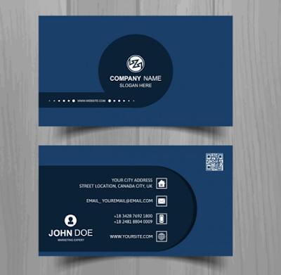Contoh Kartu Nama - Business Card With Blue Circle