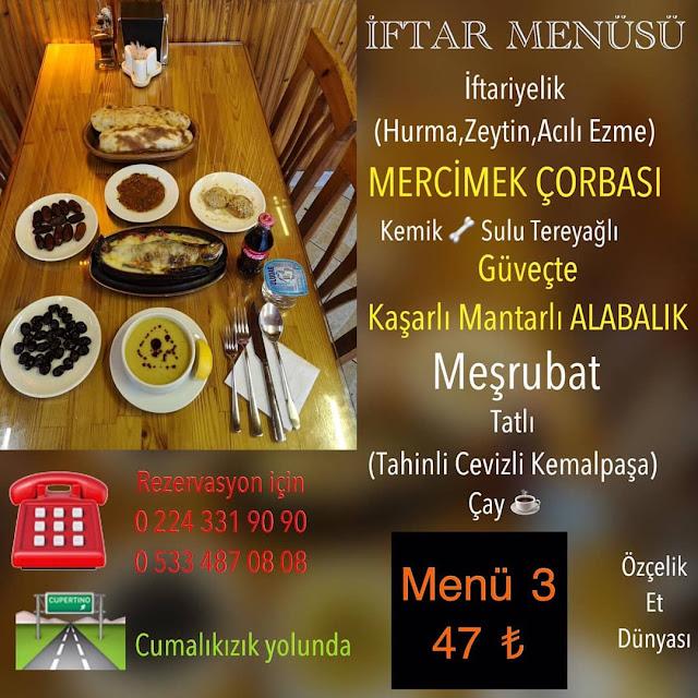 cumalıkızk ramazan iftar mekanları yıldırım bursa iftar menüleri ve fiyatları