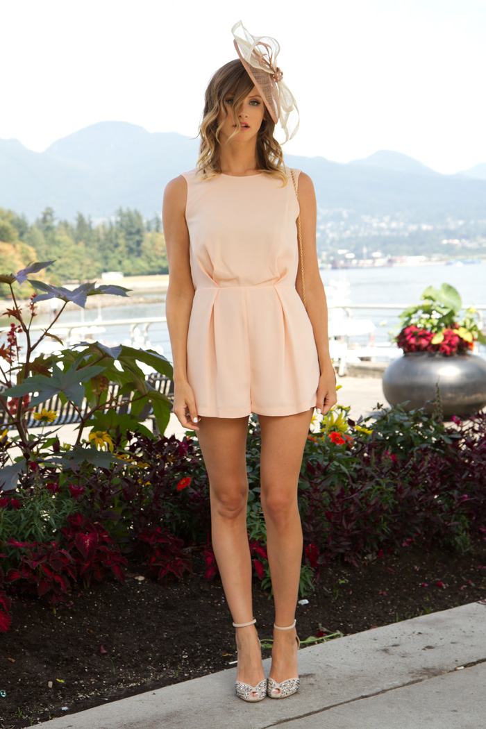 Vancouver Fashion Blogger, Alison Hutchinson, attended the Deighton Cup 2013 in Vancouver, BC, wearing a nude fascinator by Entitled Hats and Fascinators, a Topshop nude romper with black lace detail on the back, nude Zara heels with silver embellishments, and a black Collette Bag.