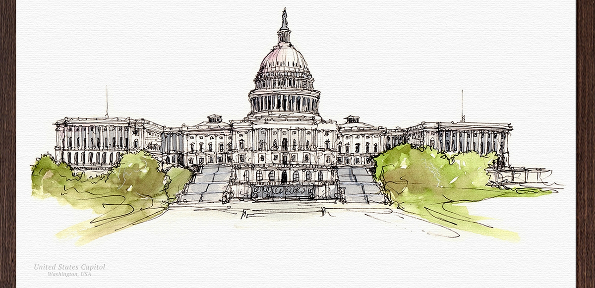 13-Capitol-Building-US-Mucahit-Gayiran-Architectural-Landmarks-Watercolor-Paintings-www-designstack-co