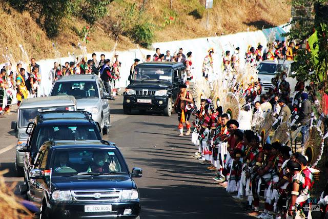 Prime Minister Narendra Modi convoy arriving at at Kisama Heritage Village