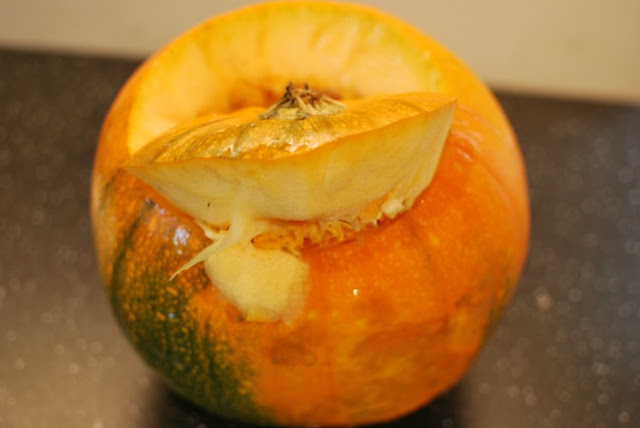 Pumpkin with lid cut at an andle