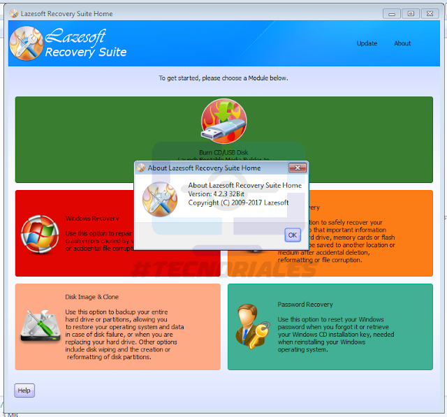 Version 4.2.3 de Lazesoft Recovery Suite Home
