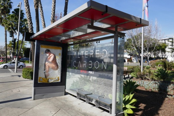 Altered Carbon bus shelter installation