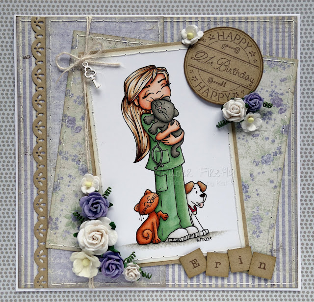 Lilac floral card with veterinary nurse girl (Time 4 Tea digi image)