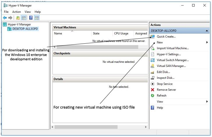 create virtual machine onHy-V windows 10