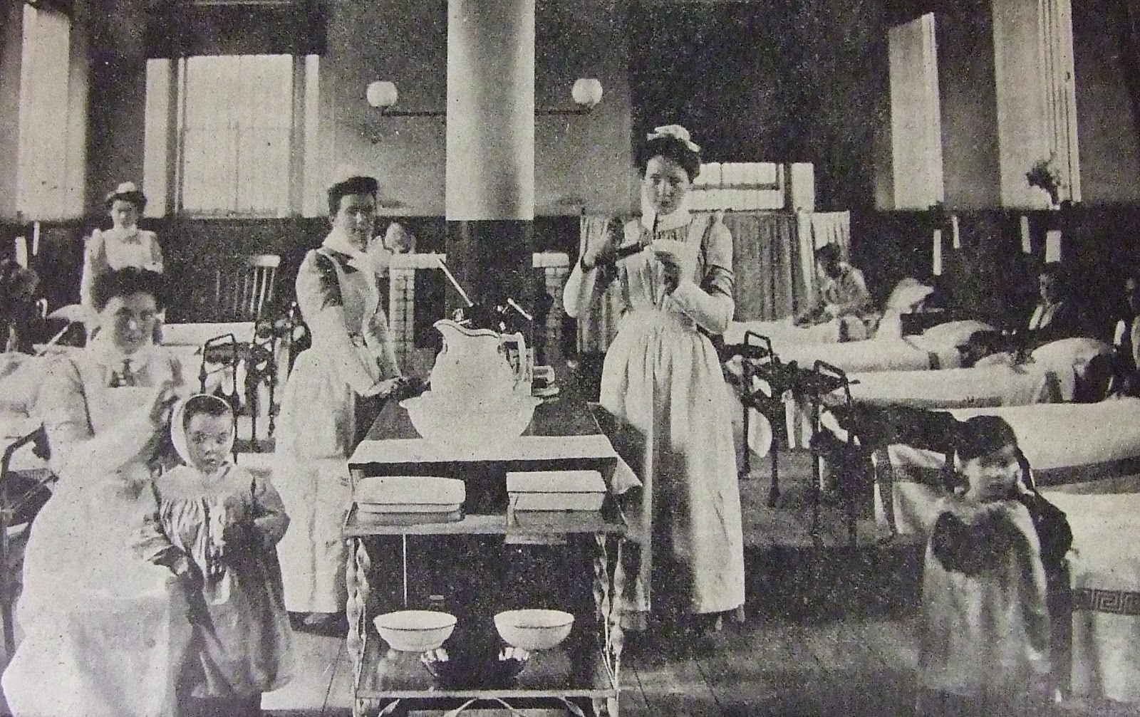 Photo of nurses and patients on the lower landing of Cork Street Fever Hospital, Dublin, Ireland, 1903
