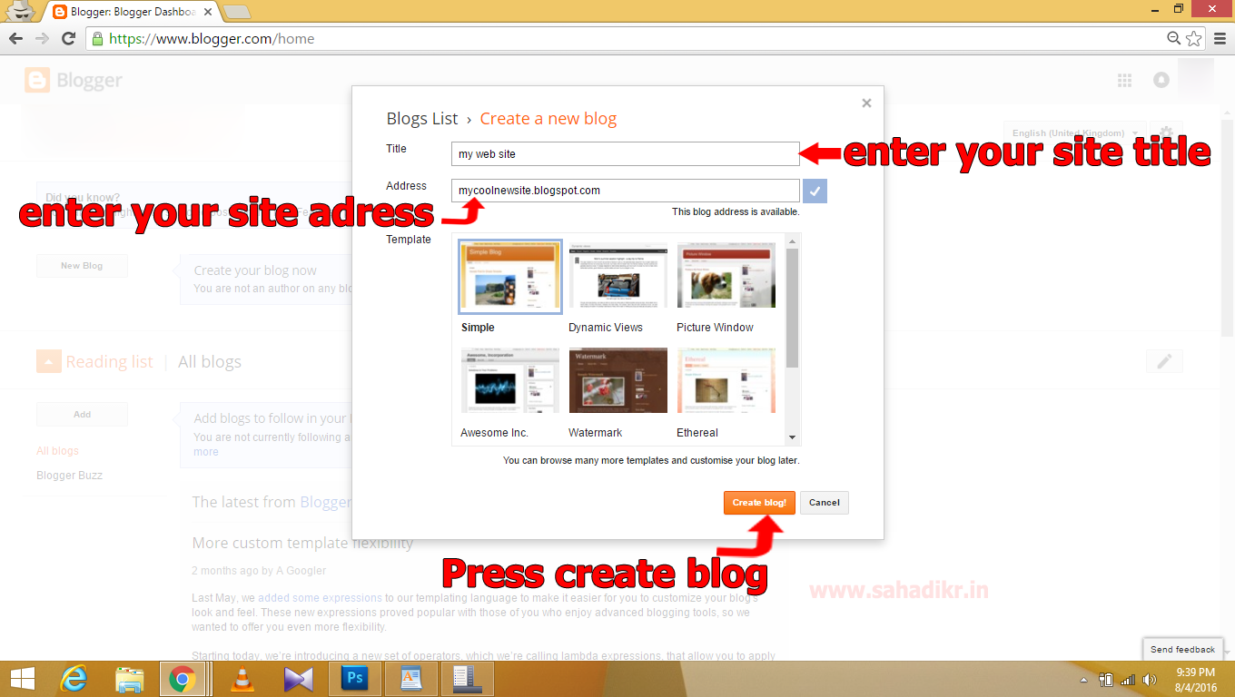 how to create a website and earn money easy tutorial please log in to your google account once logged in you ll a button to build a new blog you need to click new blog to create your own blog website