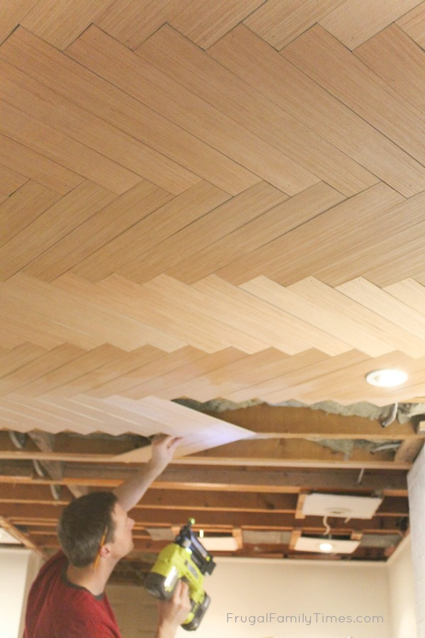 How to DIY: Wood Herringbone Ceiling (Another Great Basement