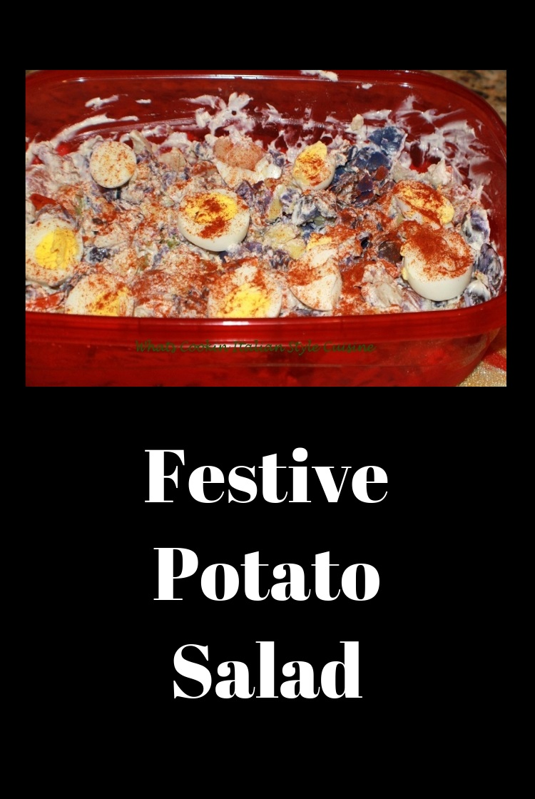 a classic potato salad with pretty purple, white and red potatoes for the 4th of July Patriotic themed picnic in your backyard. This one has eggs in it along with mayonnaise.