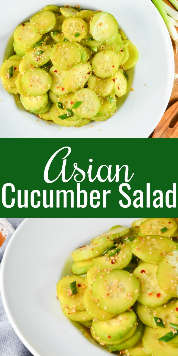 Asian Cucumber Salad is spicy sweet in a toasted sesame seed oil dressing with just a hint of honey is a favorite summer side dish recipe from Serena Bakes Simply From Scratch.