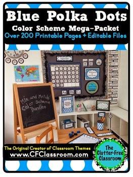 http://www.teacherspayteachers.com/Product/BLUE-POLKA-DOTS-Classroom-Color-Scheme-Theme-EDITABLE-33-Product-Bundle-1244012