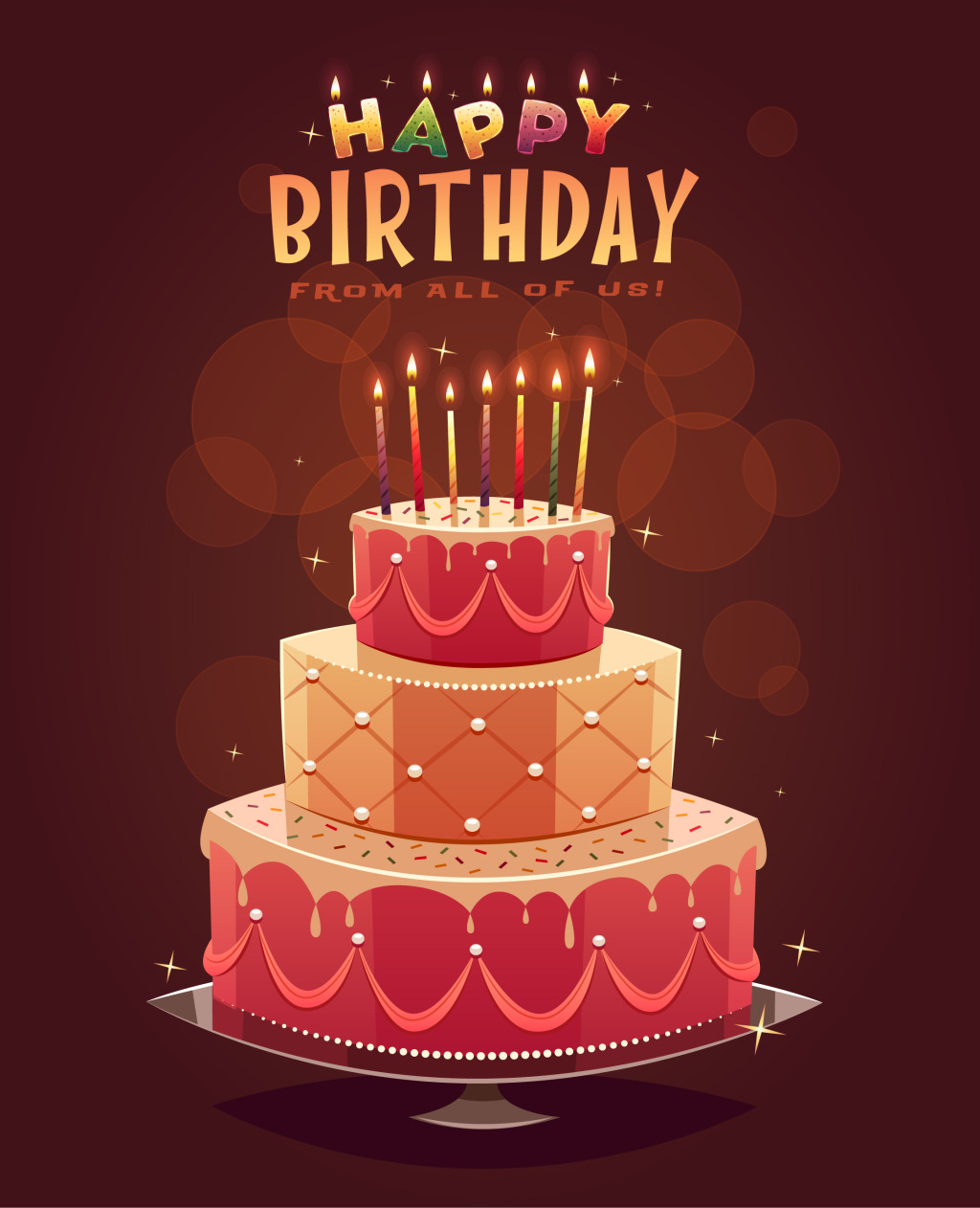 Colorful Birthday Cake Poster Free Vector Vectorkh