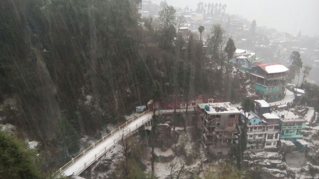Victoria falls covered with hailstones in Darjeeling on 31st march 2016