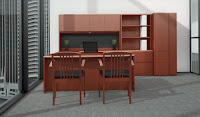 Executive U Shaped Office Desk with Cherry Finish