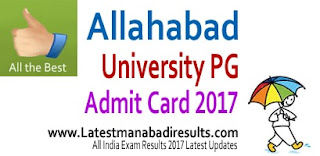 Allahabad University PG Admit Card 2017, Allahabad PG Admit Card 2017