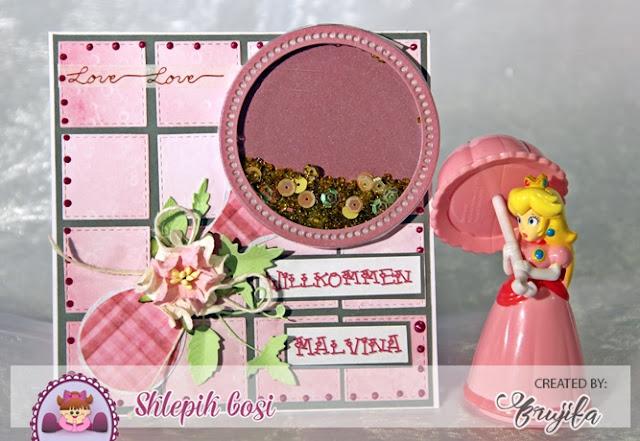 kartka dla dziewczynki, prezent na powitanie, kartka z sheaker boxem, dla dziecka