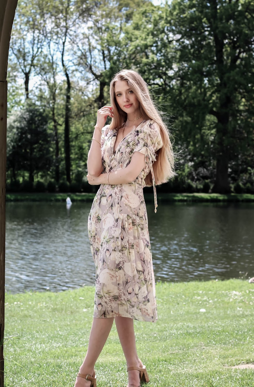 Fashion Blogger Styling a Floral Print Tea Dress