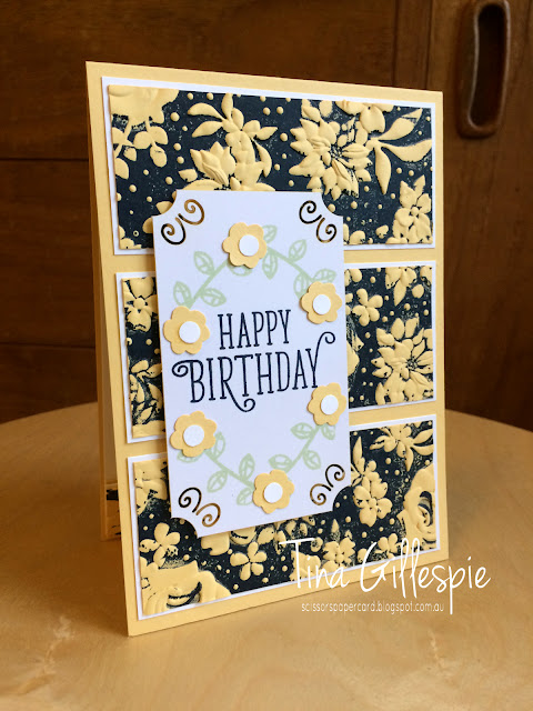 scissorspapercard, Stampin' Up!, Art With Heart, Colour Creations, Happy Birthday Gorgeous, Country Floral DTIEF, Share What You Love Embellishment Kit, Bitty Blooms Punches
