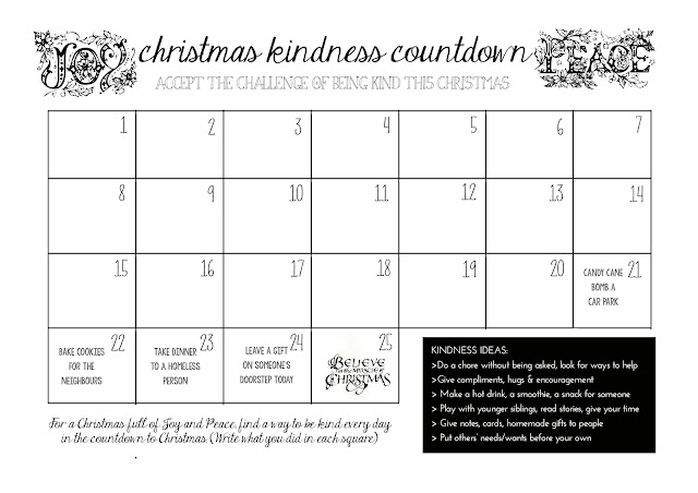 Christmas Kindness Countdown printable calendar