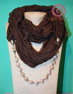 Curioseart - Fular-collar marrón con MADREPERLAS
