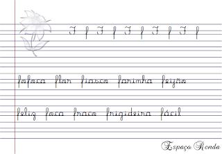 caderno de caligrafia letra F