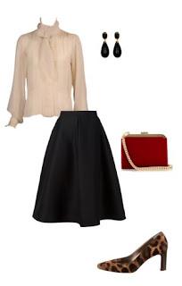 Saia midi preta, pumps padrão leopardo, mala a tiracolo bordeaux com tira dourada, camisa rosa suave com laço e brincos pretos em forma de gota
