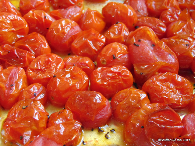 Roasted Grape Tomatoes with olive oil, salt and pepper.