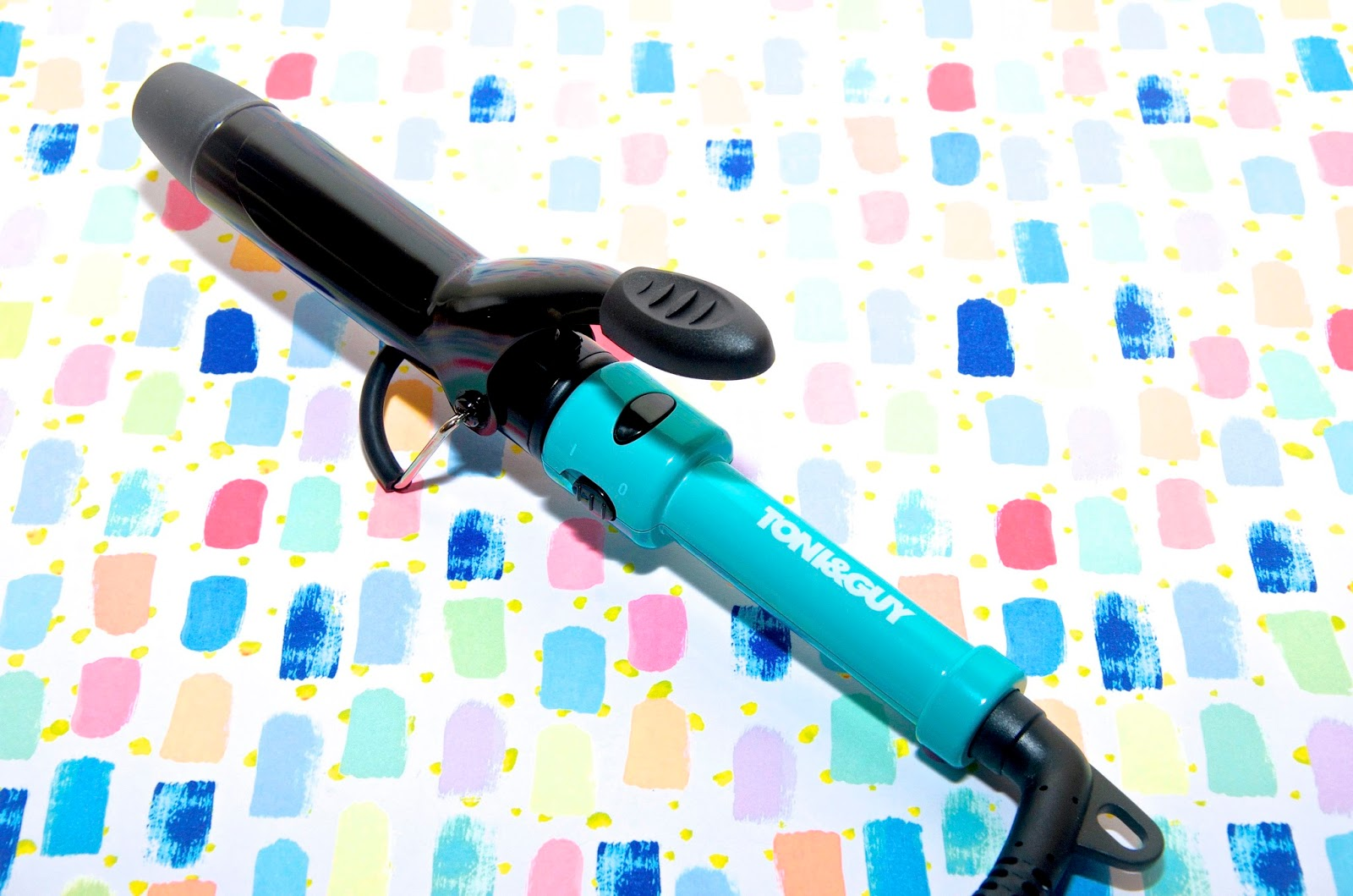 turquoise travel curling iron tongs
