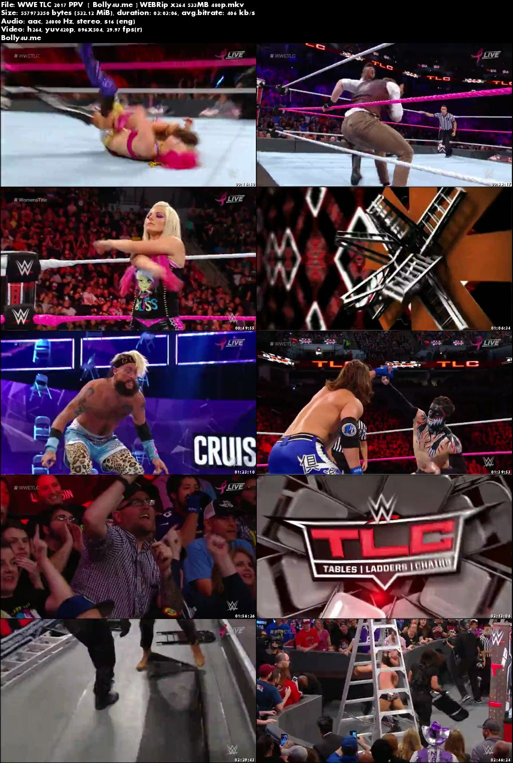 WWE TLC 2017 PPV WEBRip 500MB Full Show 480p x264 Download