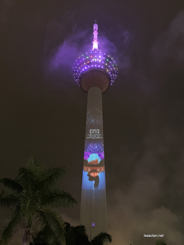 KL Tower lighted up with images and videos!